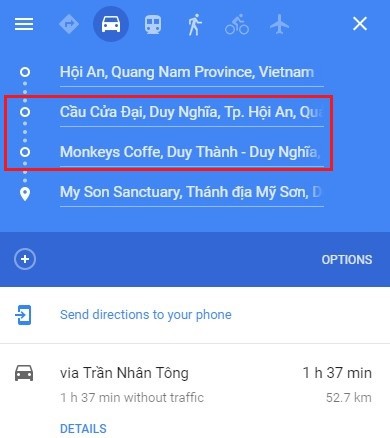 Add 2 stops Cau Cua Dai and Monkeys Coffee between Hoi An and My Son Sanctuary