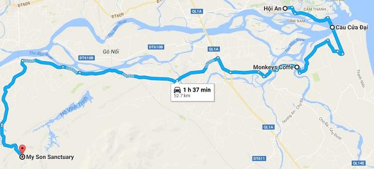 Maps from Hoi An to My Son Sanctuary (though Cua Dai bridge)