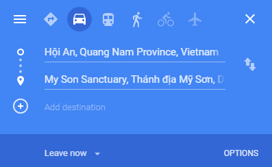 Google Search for Route from Hoi An to My Son