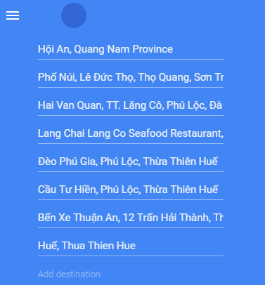 Maps from Hoi An to Hue via Hai Van Pass and Thuan An Peninsula