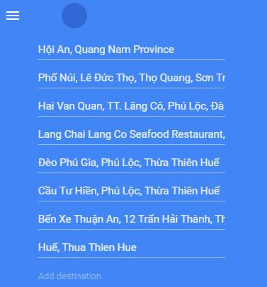 Maps from Hoi An to Hue via Hai Van Pass and Thuan An Peninsula