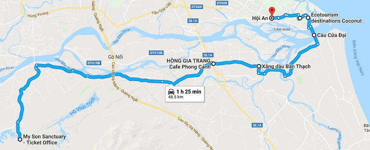 Maps from My Son Sanctuary to Hoi An (though Cua Dai bridge)